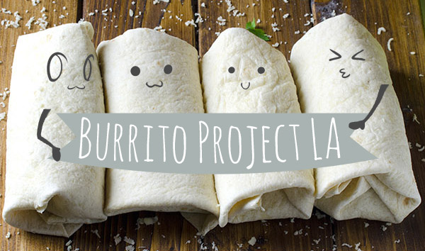 Four burritos lay in a line with a Burrito Project banner over them.